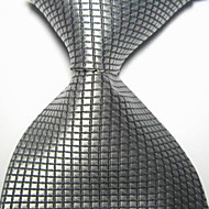 New Gray Checked JACQUARD WOVEN Men's Tie Necktie TIE2018