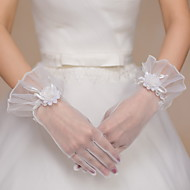 Até o Pulso Com Dedos Luva Tule Luvas de Noiva Luvas de Festa Floral