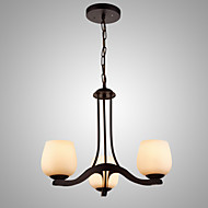 SL® Iron Painting Chandelier with Glass Shade Classic Lighting Lamp 3 Heads