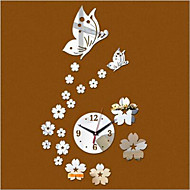 2016 3D Mirror Wall Clock. DIY Crystal Kitchen Clocks Home Decoration, Reloj De Pared 2 Butterfly and 17 Flowers