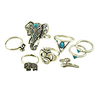 Women's Alloy Ring Turquoise Alloy 8 Pieces