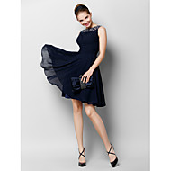 TS Couture® Cocktail Party Dress - Dark Navy A-line Bateau Knee-length Chiffon