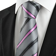 New Striped Pink Grey Novelty Men's Tie Necktie Wedding Party Holiday Gift #1026