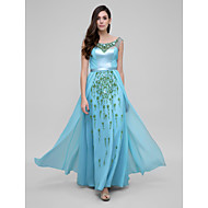 Formal Evening Dress Sheath / Column Scoop Ankle-length Chiffon / Satin with Appliques