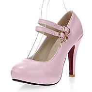 Calçados Femininos-Saltos-Saltos / Arrendondado-Salto Agulha-Preto / Azul / Rosa / Branco-Courino-Social / Festas & Noite