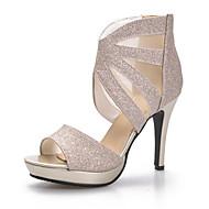 Γυναικεία παπούτσια-Πέδιλα-Γάμος / Φόρεμα / Πάρτι & Βραδινή Έξοδος-Τακούνι Στιλέτο-Peep Toe / Πλατφόρμες-Προσαρμοσμένα Υλικά-Μαύρο /