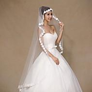 Wedding Veil One-tier Elbow Veils / Fingertip Veils Lace Applique Edge Tulle / Lace Ivory