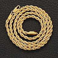 FX 18K Real Chunky Gold Plated Link Chain Necklace Jewelry Gift for Men Women 50cm-5mm
