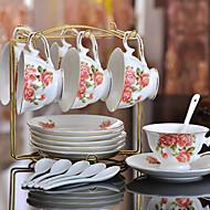Ceramic Tea Cup 6*3pcs Afternoon Tea China British Style Random Color