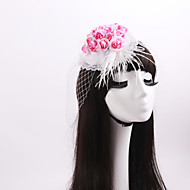 Women's / Flower Girl's Lace / Feather / Fabric / Net Headpiece-Wedding / Special Occasion Fascinators 1 Piece