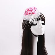 Dame / Blomsterpige Blonde / Fjær / Imitert Perle / Stoff / Nett Headpiece-Bryllup / Spesiell Leilighet / Avslappet fascinators 1 Deler