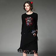 aofuli mode vrouwen kleden etnische vintage elegant hoge borduren kraal pailletten kwastje elastiek in de taille jurk