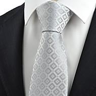Gravata(Prateado,Poliéster)Quadriculado