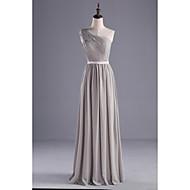 Lanting Bride® Gulvlang Chiffon / Charmeuse Brudepikekjole A-linje Enskuldret med Perler / Belte / bånd / Sidedrapering