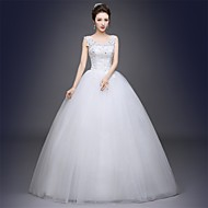 Ball Gown Wedding Dress-White Floor-length Scoop Satin / Tulle