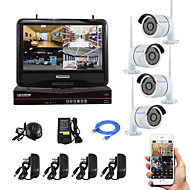 YanSe® 10-inch Screen Plug and Play Wireless NVR Kit P2P 720P HD IR Night Vision Security IP Camera WIFI CCTV System