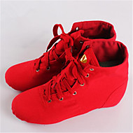 Non Customizable Women's Dance Shoes Leather Leather Jazz Sneakers Low Heel Practice Red