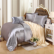 Solid Duvet Cover Sets 4 Piece Faux Silk solid Reactive Print Faux Silk Twin Full Queen 4pcs (1 Duvet Cover, 1 Flat Sheet, 2 Shams)