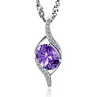 Classic Austrian Rhinestone Pure Amethyst Water Drop Pendant Necklaces Purple Stone Crystal Jewelry For Women
