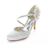 Women's Shoes Stretch Satin Stiletto Heel Heels / Round Toe Heels Wedding / Party & Evening / Dress Ivory