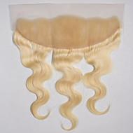 10-20inch Strandblond (#613) Blonde Forside / Håndknyttet Krop Bølge Menneskehår stenging Lysebrun Sveitsisk blonde 50g-80g gram Cap Size