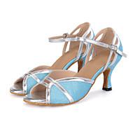 Aanpasbaar-Dames-Dance Schoenen(Zwart / Blauw / Rood / Meerkleurig) - metWijd uitlopende hak- enSamba