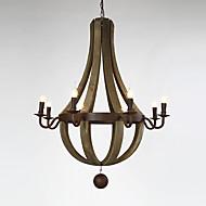 8 Heads Vintage Amercian Rustic Wooden Pendant Wine Barrel Chandelier Lamp Liviing and Bedroom Lamp