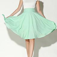 Women's Solid Pink / White / Black / Green Skirts,Vintage / Boho Knee-length
