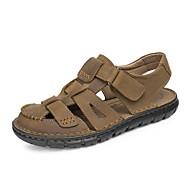 Menns sandaler vår sommer fall komfort nappa skinn utendørs kontor&Karriere kjole tilfeldig lys brunt vann sko