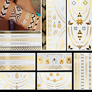 8pcs Gold Silver Necklace Ring Feathers Temporary Flash Metallic Tattoos Sticker Waterproof