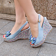 Women's Shoes Denim Flat Heel Wedges / Heels / Peep Toe / Platform Sandals / Heels Outdoor / Dress / Casual Black/1-1