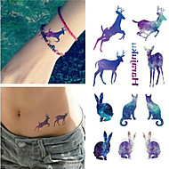 Disposable Waterproof 3d Tattoo Sticker Color Runs Elk Pattern Temporary Tattoo Stickers Flash Fake Tattoo Foil Decal