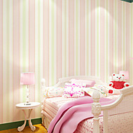 HaokHome® Modern Stripe Wallpaper Rolls Pink/Cream/Green Non Woven Girls Baby Wall Paper Realistic Home Decoration