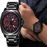Men's Wrist watch Three Time Zones Quartz Japanese Quartz Stainless Steel Band Black