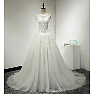 A-line Wedding Dress-Ivory Court Train Jewel Lace / Tulle