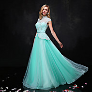 Formal Evening Dress A-line High Neck Floor-length Lace / Tulle