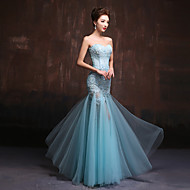 Formal Evening Dress Trumpet / Mermaid Sweetheart Floor-length Lace / Tulle with Appliques / Beading