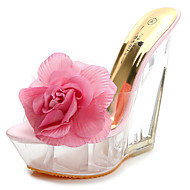 Thick crust slope with a beach large flowers shaped muffin waterproof high-heeled sandals and slippers
