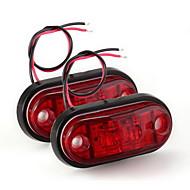 2 × 자동차 트럭 트레일러 피라 사이드 마커 지시등 라이트 램프 전구 빨간색 주도
