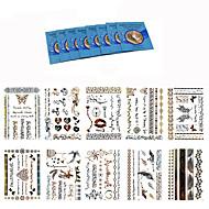 king horse-タトゥーステッカー-Non Toxic / Waterproof / メタル-女性 / 大人-紙-20.5*14.5CM-パターン-18Pcs/Lot =10pcs temporary tattoos +8pcs cleansing wipes個