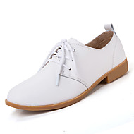 Women's Shoes Leather Spring / Summer / Fall / Winter Comfort Oxfords Casual Flat Heel Lace-up Black / Blue / Brown / Pink / White / Beige