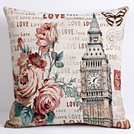 Linen Pillow Cover/Case ,  Woven Traditional/Classic Flower Time-Building Feature