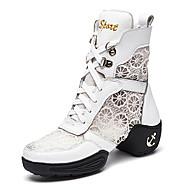 Chaussures de danse(Noir Blanc) -Non Personnalisables-Talon Bas-Cuir Dentelle-Baskets de Danse