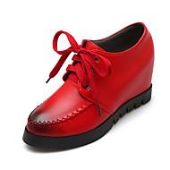 נעלי נשים-אוקספורד-PU-פלטפורמה / נוחות / מעוגל / רצועת קרסול-שחור / אדום-שטח / משרד ועבודה-פלטפורמה