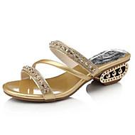נעלי נשים-סנדלים-דמוי עור-פתוח-שחור / כסוף / זהב-שמלה / קז'ואל-עקב עבה