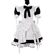 Manica corta al ginocchio in bianco e nero classico in raso vestito cameriera Lolita con l'arco