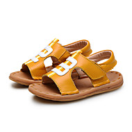 Boy's Sandals Summer Comfort Leather Outdoor Casual Flat Heel Applique Hook & Loop Black White Earth Yellow