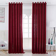 Dois Painéis Tratamento janela Moderno , Sólido Sala de Estar Mistura de Linho e Poliéster Material Cortinas cortinas Decoração para casa