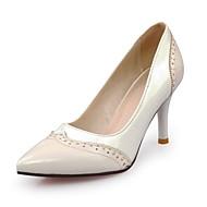 Calçados Femininos-Saltos-Saltos / Com Ponteira / Bico Fino-Salto Agulha-Preto / Branco / Preto e Branco-Courino-Escritório & Trabalho /
