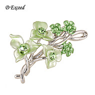 D Exceed Women's Elegance Sweater Brooches And Pin Green Rhinestone Brooches New Arrival